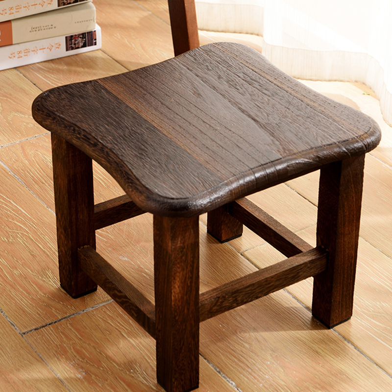 Solid Wooden Stool Fashionable Creative Stool Adult Living Room Stool Low Stool Wooden Shoes Stool Square Stool Children