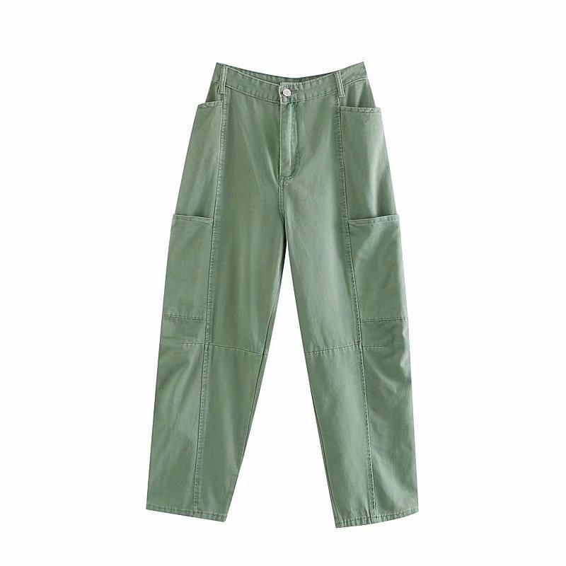 Streetwear Loose Mom Jeans 2019 Women Boyfriend Pockets Cargo Jeans Trousers Fashion High Waist Green Denim Pants Bottoms