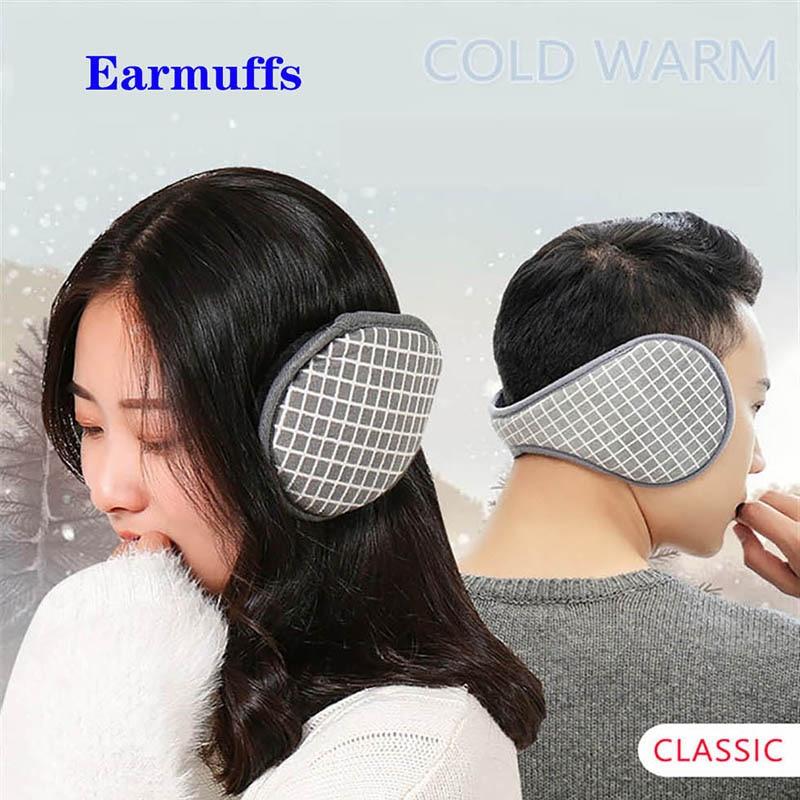 Calymel Unisex Fashion Grid Solid Winter Earmuffs Women Men Ear Cover Protector Soft Warm Earmuff Warmer Gift Accessories