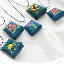 DIY Flower Mini Embroidery Bag Kit Embroidery Sachet Necklace Key chain Cross Stitch Sets Needlework Printed Flower  Swing Craft flower embroidery pu chain cross body bag