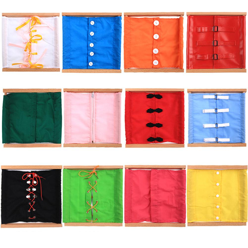 None Kids Wooden Montessori Toys Toddler Practical Life Buttons Dressing Frame For Education Learnning Supplies Tools