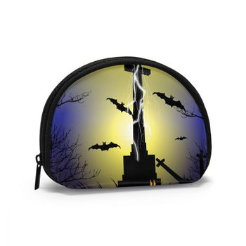Cosmetic Organizer Bag Spooky Graveyard Scene With Cross And Bats Makeup bag Fashion Women Multifunction Beauty Bag