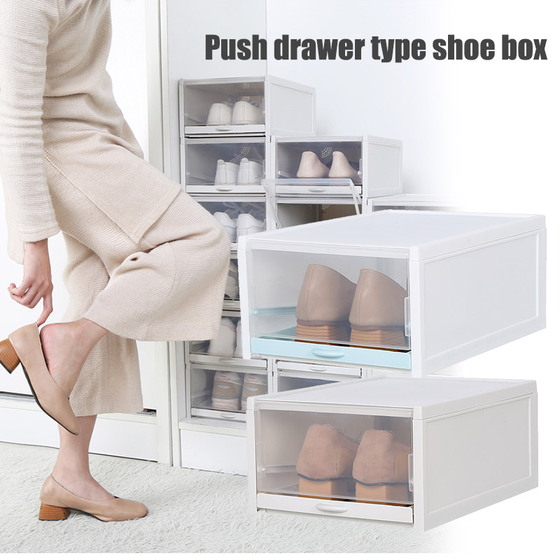 Shoe-Box Rack Cabinet Drawer-Type Foldable Transparent Plastic P66 Large-Size title=