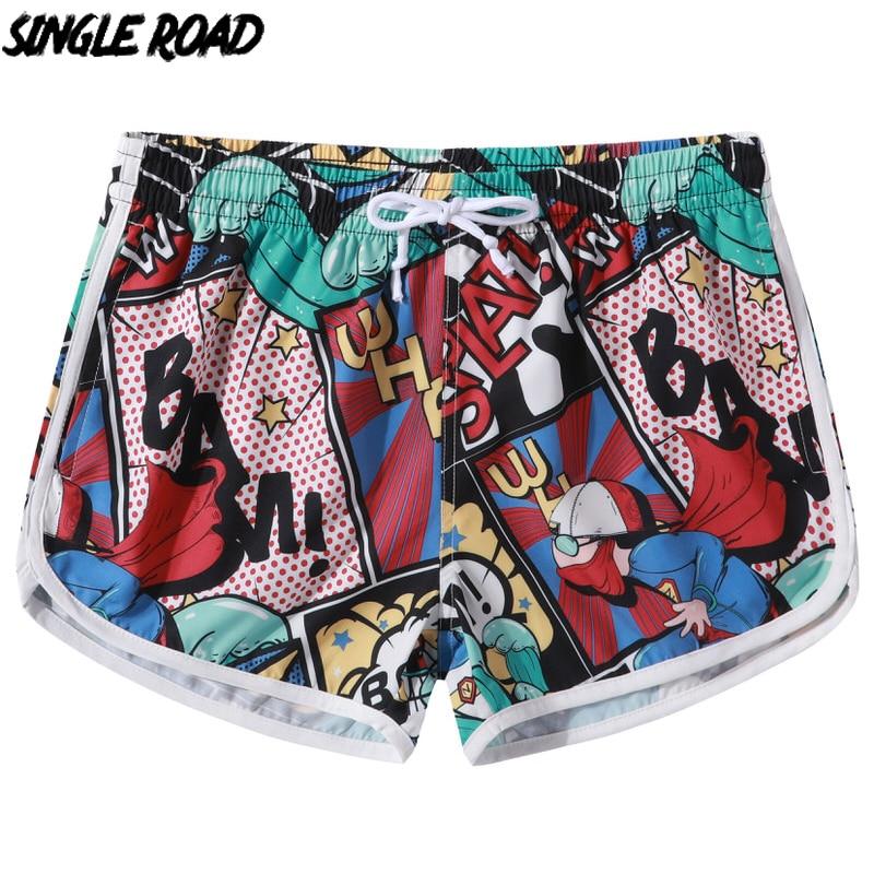 Single Road Beach Board Shorts Female 2021 Summer Print Couple Short Men Swimwear Elastic Waist Quick Dry Swim Shorts For Women