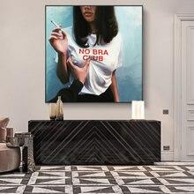 Não sutiã clube meninas arte da parede cartazes e impressões fumar meninas africanas pinturas na decoração da parede moderno bad girls fotos