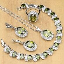 Zeytin yeşili kübik zirkon 925 ayar gümüş takı setleri kadınlar için parti küpe/kolye/yüzük/bilezik/kolye seti