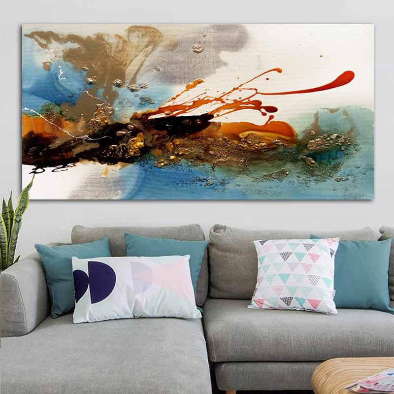 Spalvingas, modernus abstraktus debesis galaktikoje, naujas aliejinis - Namų dekoras