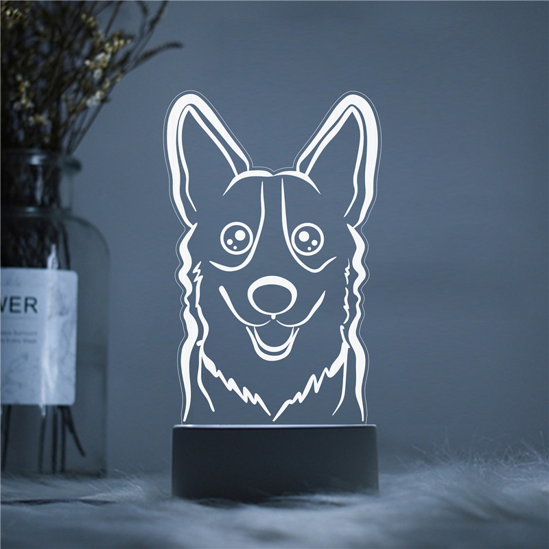LED 3D Husky Dog Head Shadow NightLight Acrylic Night Lamp Light Luminary Touch Remote Lamps Lights Kids Decoration Getsincrack
