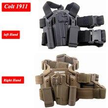 Mão esquerda/direita tático arma carry caso colt 1911 perna coldre militar airsoft arma bolsa caça engrenagem coxa coldre