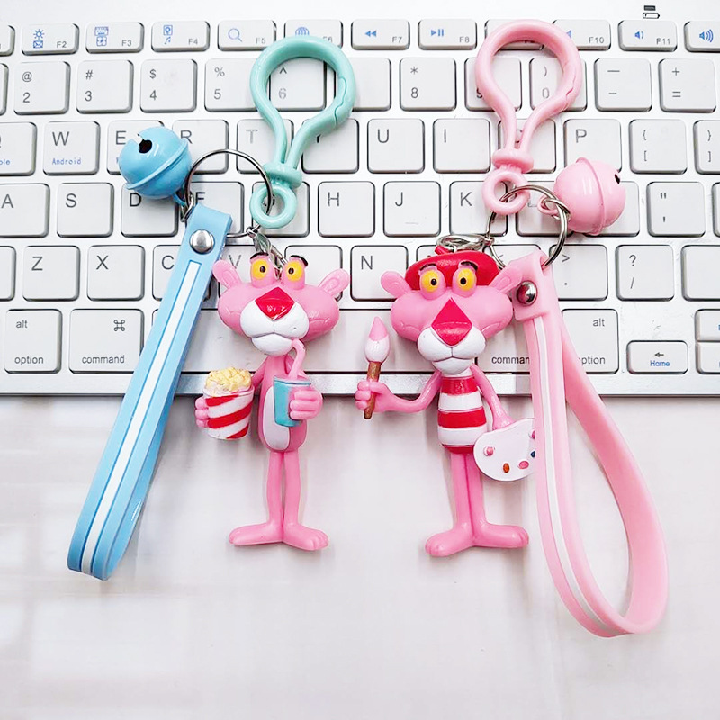 2019 Cartoon Animal Keychain Pink Panther Cute Bells Key Chain Women Car Keyring Cute Girl Keyring Men Keychains in Key Chains from Jewelry Accessories