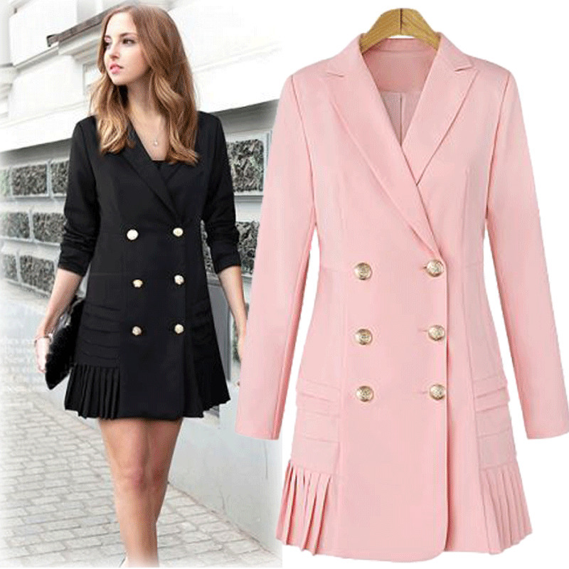 Blazer Women Long Sleeve Suit Jacket Notched Double Breasted Office Ladies Elegant Pleated Short Dress Female Plus Size