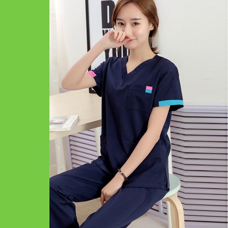 [SET] Women's Fashion Scrubs Set V Neck Contrasting Color Design Pure Cotton Top + Pants