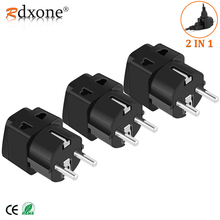 Rdxone European Plug Travel Adapter Schuko Type E/F for Russia ,Germany, France, Europe   Grounded 2 in 1