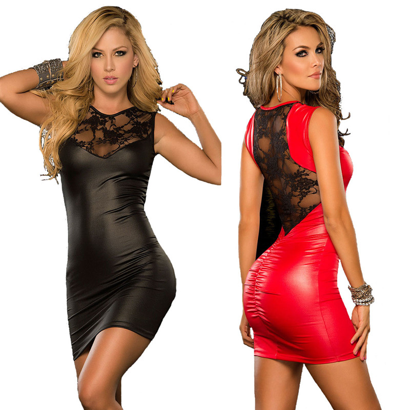 porn sexy <font><b>pvc</b></font> <font><b>dress</b></font> Lace Backless Women's Shiny Faux Leather See-through Sexy Skinny <font><b>Dress</b></font> Package Hip Skirt image