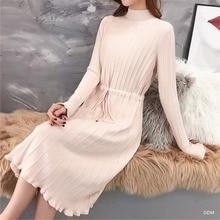 Medium long sweater women2019 loose over the knee half-high collar autumn and winter