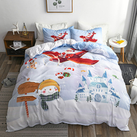 Queen Size Comforter Sets Kids Duvet Cover Christmas Santa Claus Printing Bedding Set