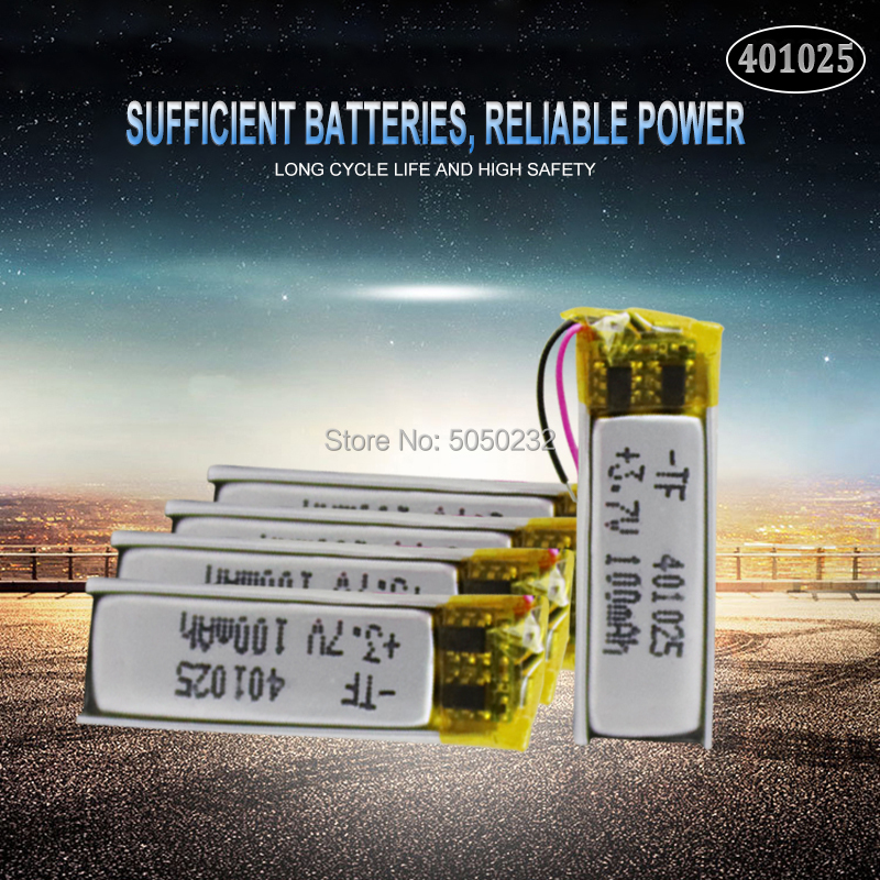 4pc 70mAh 3.7V <font><b>401025</b></font> PLIB Polymer Lithium ion / Li-ion Battery for GPS MP3 MP4 MP5 DVD Bluetooth Model Toy Mobile Bluetooth image