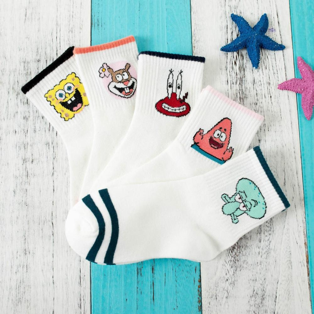 Hot Stripes Cartoon Character Cute Short Socks Women Harajuku Patterend Ankle Socks Hipster Skatebord Ankle Funny Socks Female