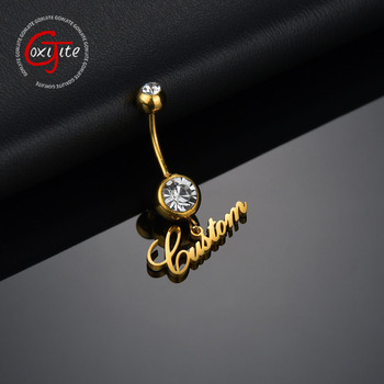 Custom 1pc Name Sexy Navel Piercing Belly Button Rings Bar For Woman Personalized Name Dangling Zircon Body Jewelry 1