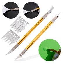 Ehdis 2 pçs filme de carbono envoltório corte faca matiz de vidro adesivo cortador de vinil com lâminas reposição bolha ar liberação caneta acessórios do carro