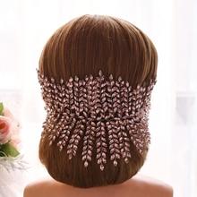 TRiXY H238 Stunning Bridal Crown Wedding Hair Jewelry Skin Pink Rhinestone Wedding Headband Wedding Bridal Hair Accessories