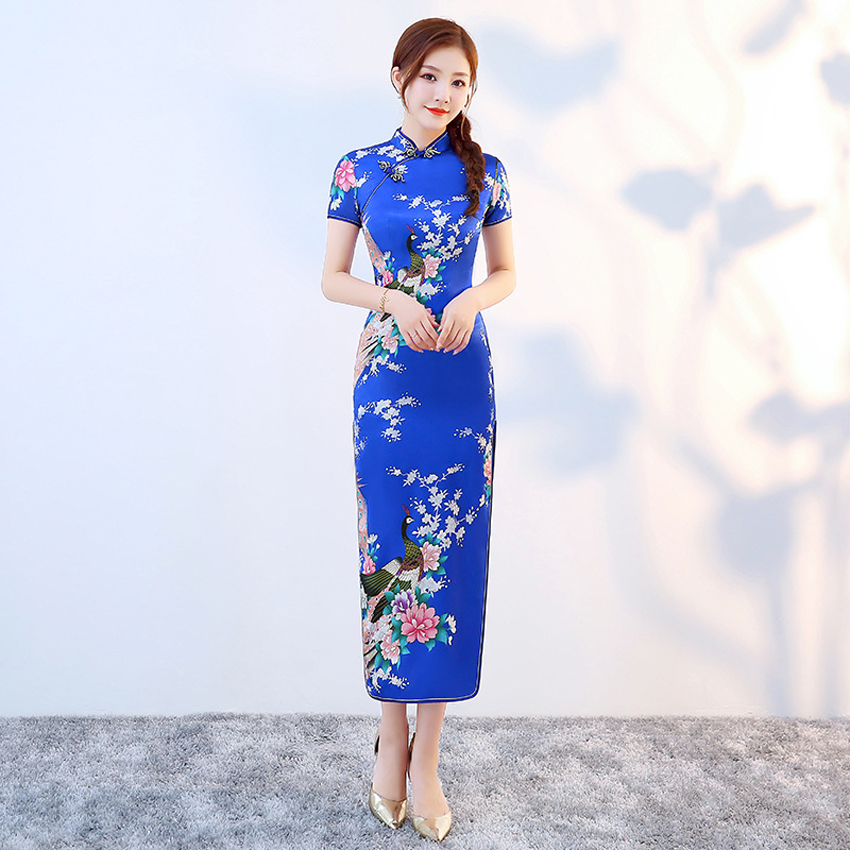 Long Style Smooth Satin Cheongsam Qipao For Women Chinese Traditional Tight Bodycon Dress Oriental Asian New Year Wedding Gown