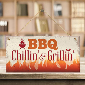 Wooden sign barbecue decoration listing wooden BBQ decoration Wall Decor for Barbecue Bar Pub Kitchen Party Zone Vintage Signs
