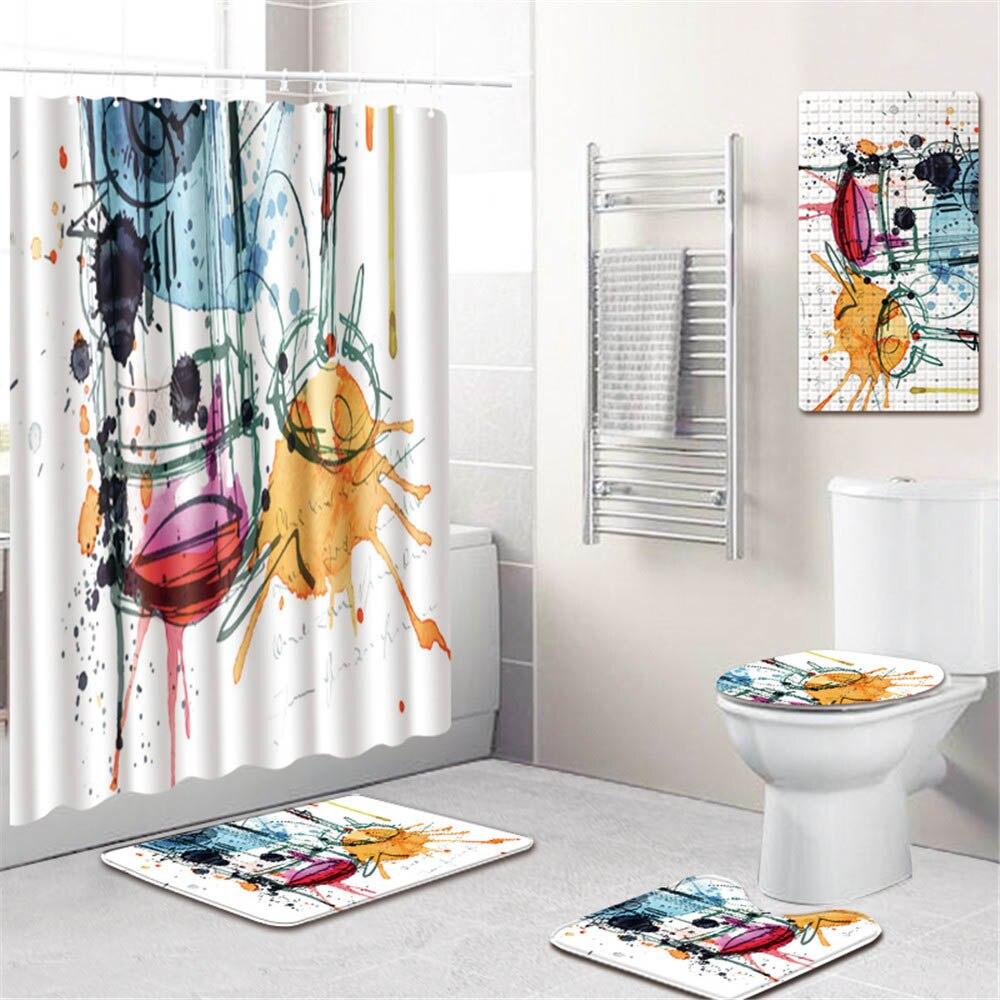 Африканской женщины Шторки для душа с принтом Водонепроницаемый полиэстер ткань Ванная комната Шторы Противоскользящий Коврик для ванны и... - 2