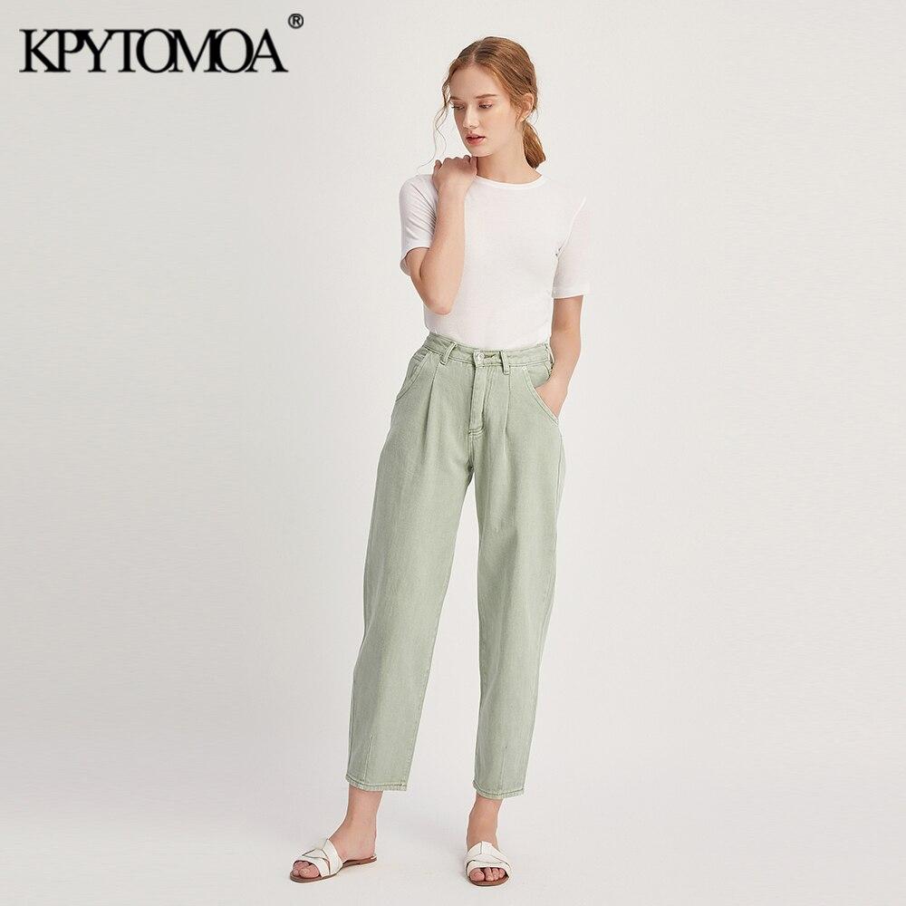 Винтажные стильные женские джинсы с карманами и дротиками 2020 модные джинсовые штаны-шаровары с высокой талией на молнии изысканные джинсы ...