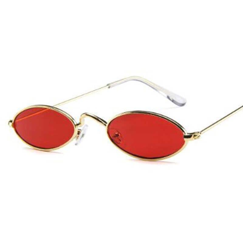 90 S Merah Kacamata Sempit Kecil Vintage Kacamata Bulat Merek Desain Kecil Logam Frame Datar Lensa Oval Kacamata Pria Warna keren