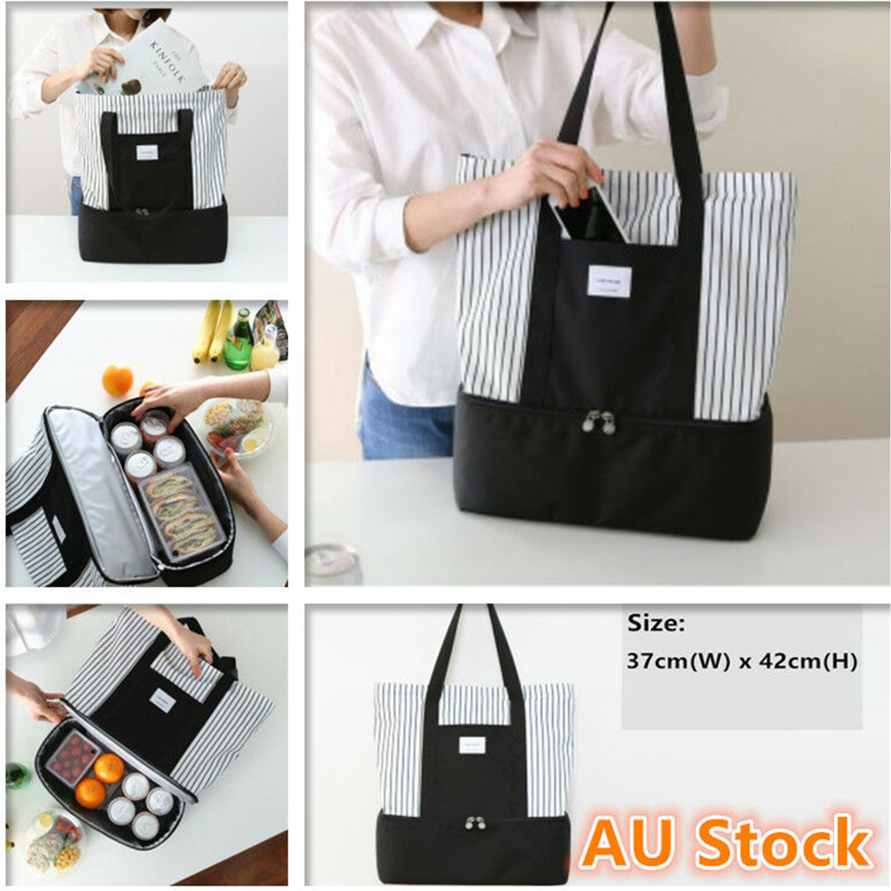 Striped Food Cooler Thermal Insulated Handbag Lunch Bag Picnic Box Pouch Tote Portable Single Shoulder Storage Dual Compartment