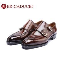 Мужские туфли-Монки из натуральной кожи; Роскошная Брендовая обувь ручной работы в винтажном стиле; обувь для офиса в стиле ретро; официальная Свадебная обувь; Мужские модельные туфли