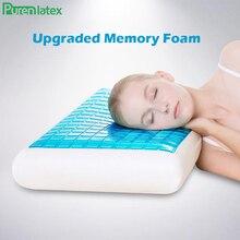 PurenLatex oreiller à mémoire de forme en Gel de Silicone, 60x40x12, oreiller frais dété, prévention de la spondylose et de leczéma, pour la guérison des vertèbres cervicales