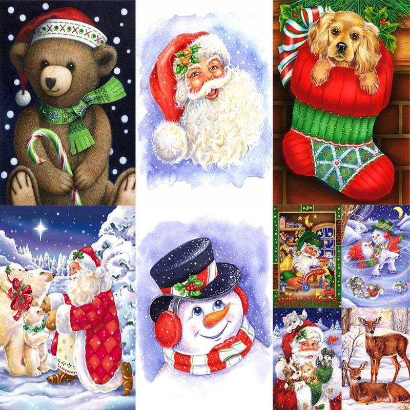5D DIY taladro completo diamante pintura Santa Claus Animal hogar Decoración costura