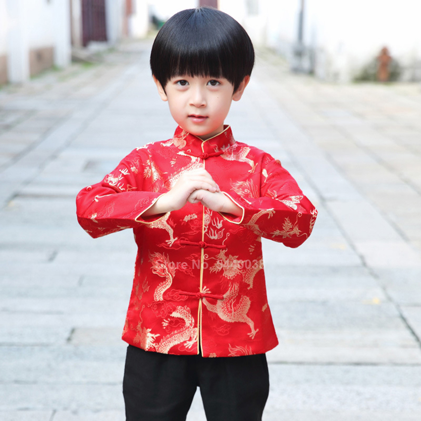 Chinese New Year Jacket Dragon Print Boys Traditional Vintage Tang Suit Kids Satin Kungfu Shirt Full Sleeve Hanfu Clothing