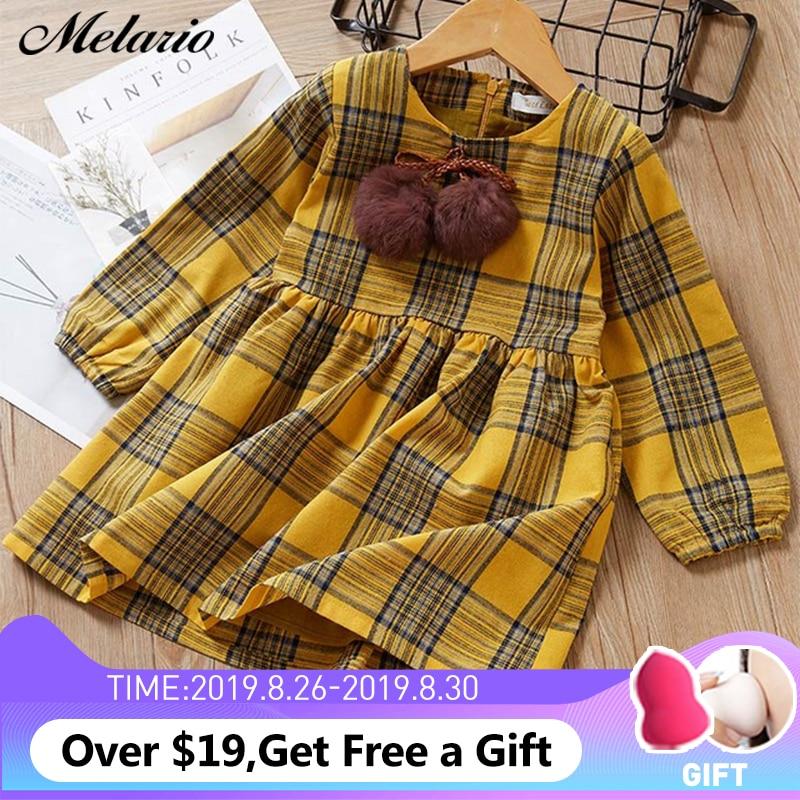 Autumn Girl Dresses Costume Long-Sleeve Princess Plaid Children Casual Hairball Cute