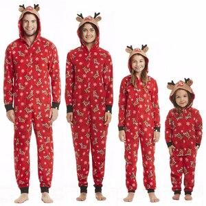 Рождественский костюм для всей семьи, комбинезон для мужчин, женщин, детей и малышей, Рождественская пижама с принтом, красная модная Рождес...