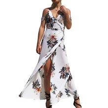 Женское пляжное платье с цветочным принтом и v образным вырезом