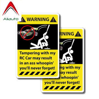 Aliauto 2 X Funny Car Sticker Warning Tampering with My RC Accessories PVC Decal for Mercedes Honda Toyota Volkswagen, 12cm*6cm image