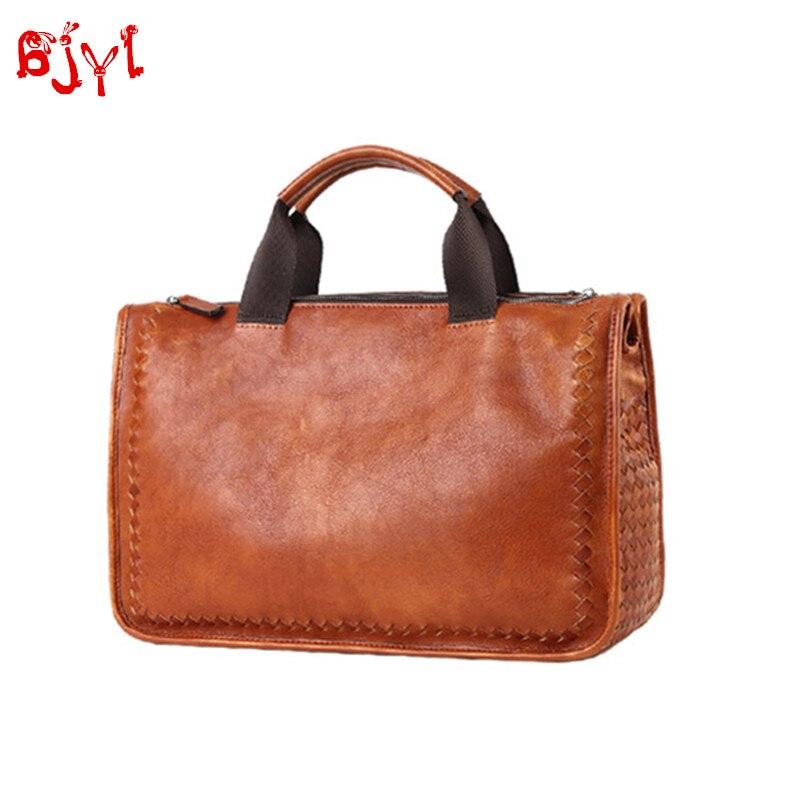 Soft Genuine Leather Men's Handbag Retro Casual Travel Bag Shoulder Messenger Bag Hand-woven Business Briefcase Male Laptop Bags
