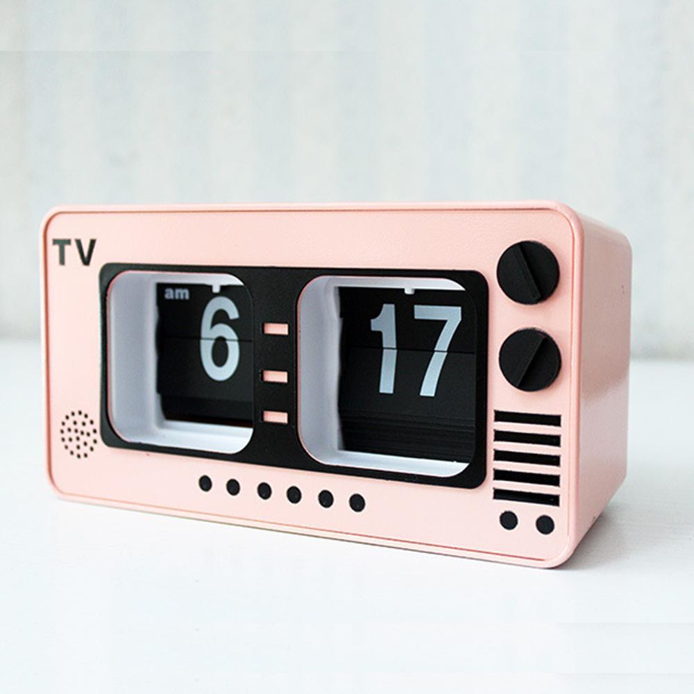 Mode créative rétro nostalgie automatique Flip horloge rose TV forme Auto horloge décoration de la maison