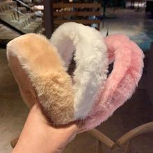 Acessórios para o cabelo do falso de pele de pelúcia headwear retro inverno grosso peludo hairband quente largo branco macio headbands para women21