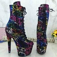 Leecabe 17CM/7Inch Women's Platform boots party High Heels Shoes Pole Dance shoes