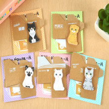 Kawaii Korean Stationery Kitty House Design Animal Sticky Memo Cat Pad Paper Cute Post It Notes(China)