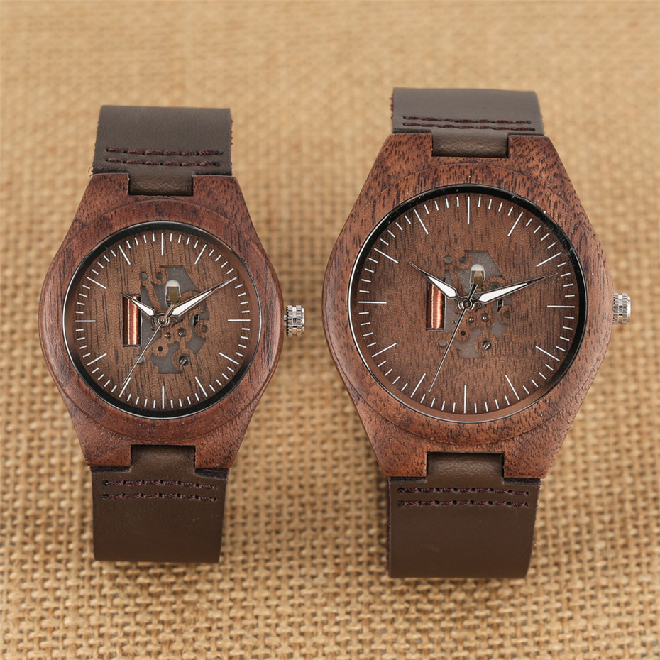 Lovers Wood Watches Creative Hollow Carving Dial Coffee Brown Wooden Genuine Leather Watches For Couple Anniversary Gifts
