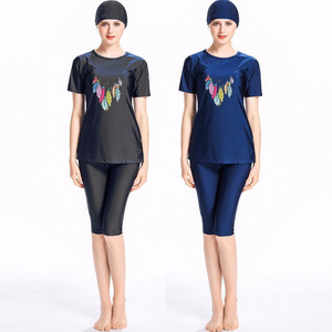 Image 2 - 여자 비치 의류 수영복 이슬람 해군 파란색 수영복 겸손 수영복 3 조각 모자 4xl 플러스 크기 인쇄