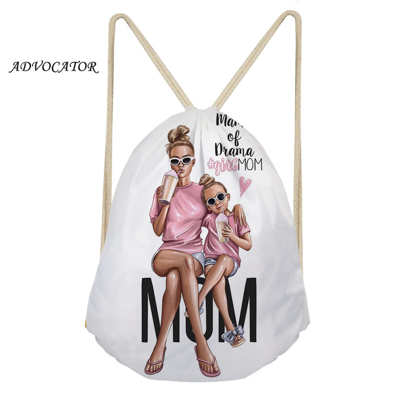 ADVOCATOR Women Drawstring Pouch Cartoon Super Mama 3D Pattern String Backpack For Custom Logo Shoes Bag Pocket Mochila Feminina