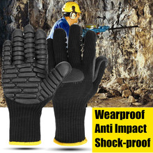1 Pair Industrial Safety Protective Gloves Shockproof Cut-proof Gloves Industrial Machinery Operations Miners' Drilling Gloves