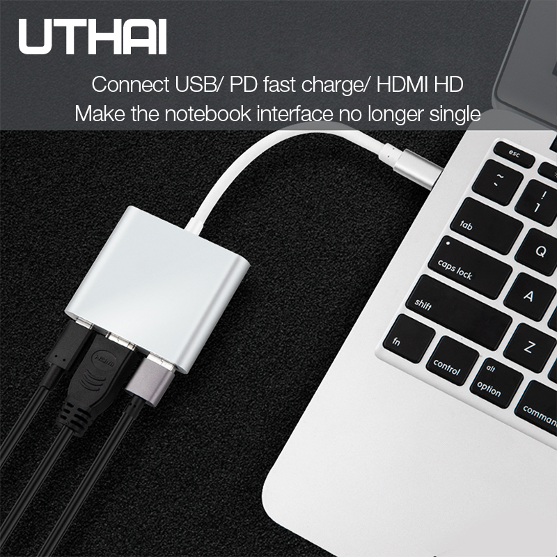 UTHAI C41 Type-C to HDMI 1080P 4K Adapter Android Phone to HDMI HD Cable PD Charging USB C 3 In 1 Converter 4
