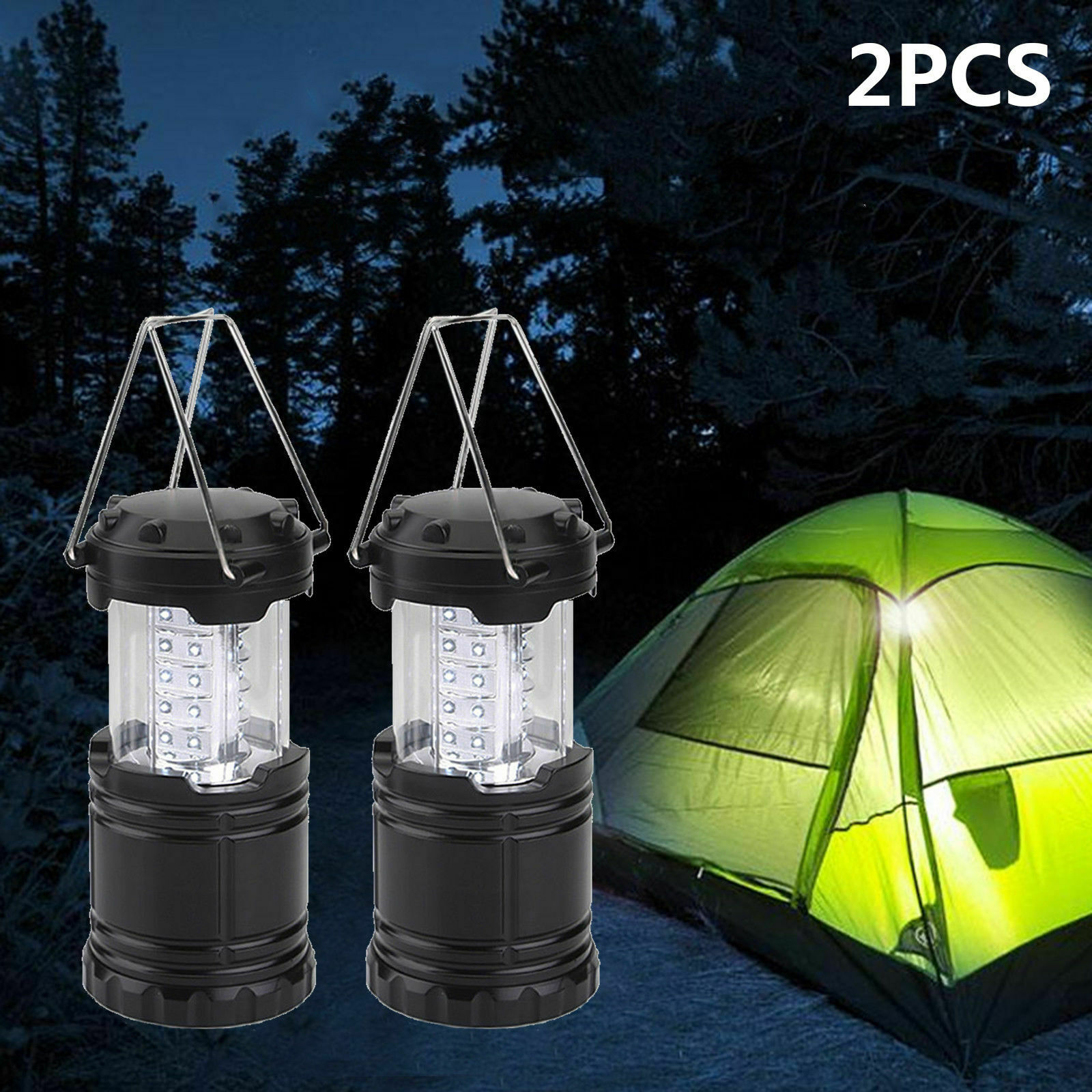 2 pcs carro campista accesseries 30led portatil acampamento tocha bateria operado lanterna luz da noite tenda